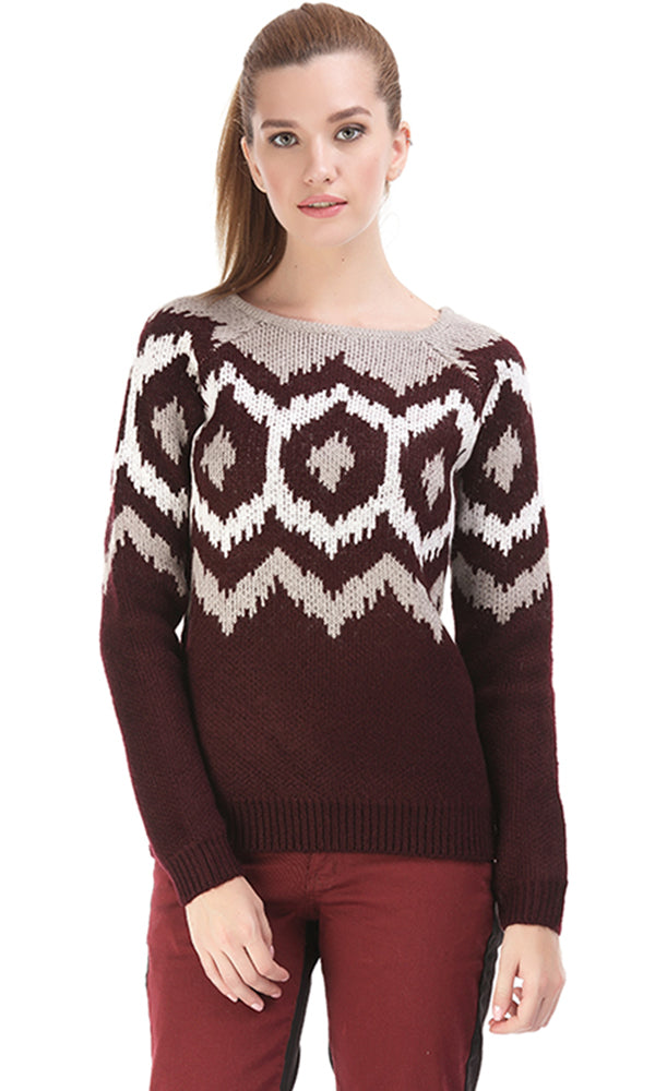 Jacquard Round Neck Pullover - Maroon