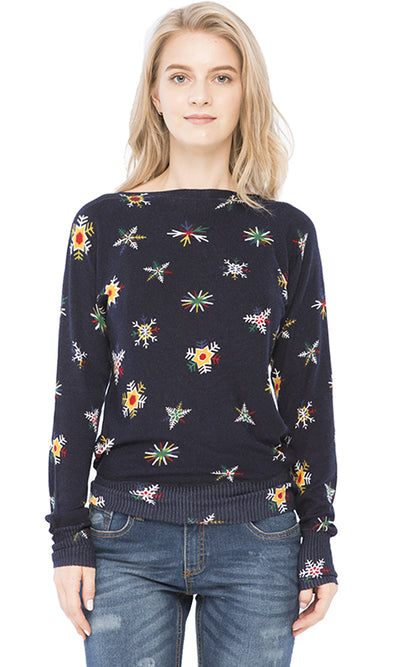 35398 Full Printed Sweater - Navy Blue