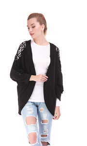 35420 Lace Sleeves Cardigan - Black