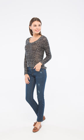 35439 High Low Knitted Pullover - Black