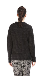 35454 High-Low Pullover - Heather Black