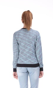 35464 Sequin Love Sweatshirt - Heather Light Blue