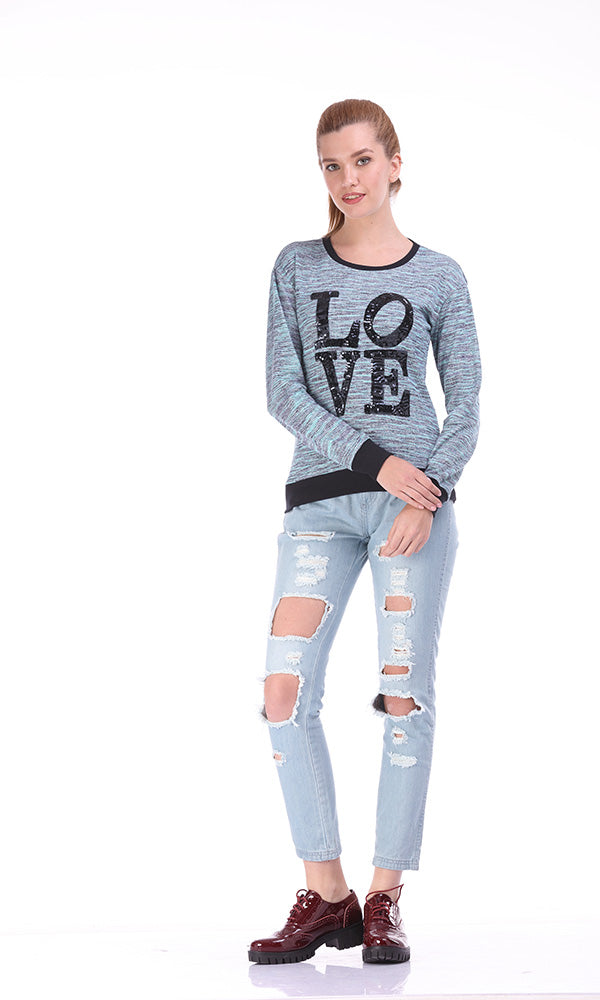 Sequin Text Sweatshirt-Mixed Yarns-Contrast Rib