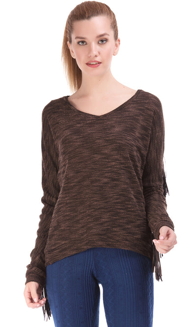 35468 Fringed Sleeves Pullover - Brown