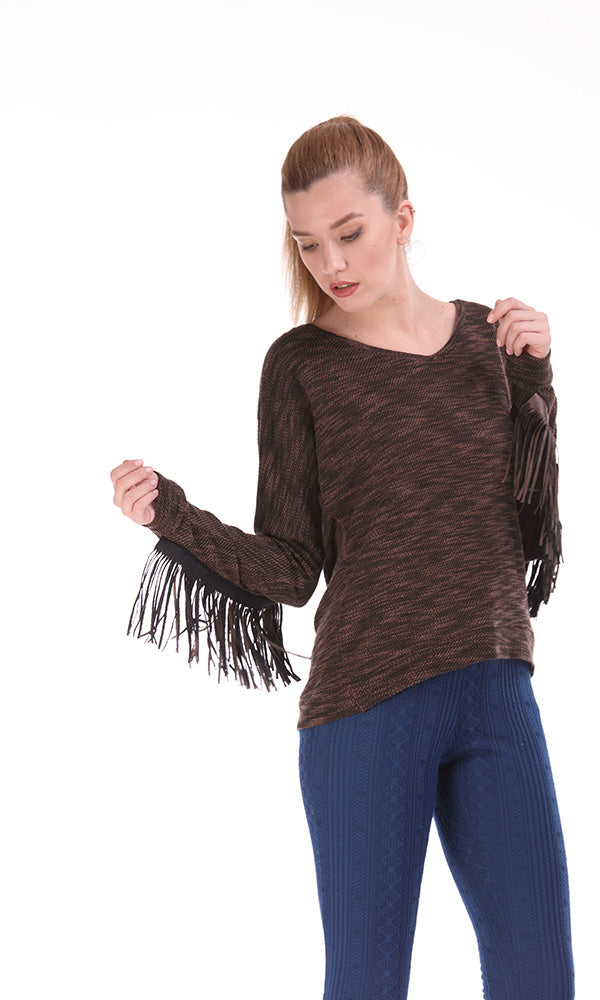 fringe sleeves and back top-long sleeves