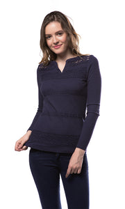 35469 Lace Panels Top - Navy Blue