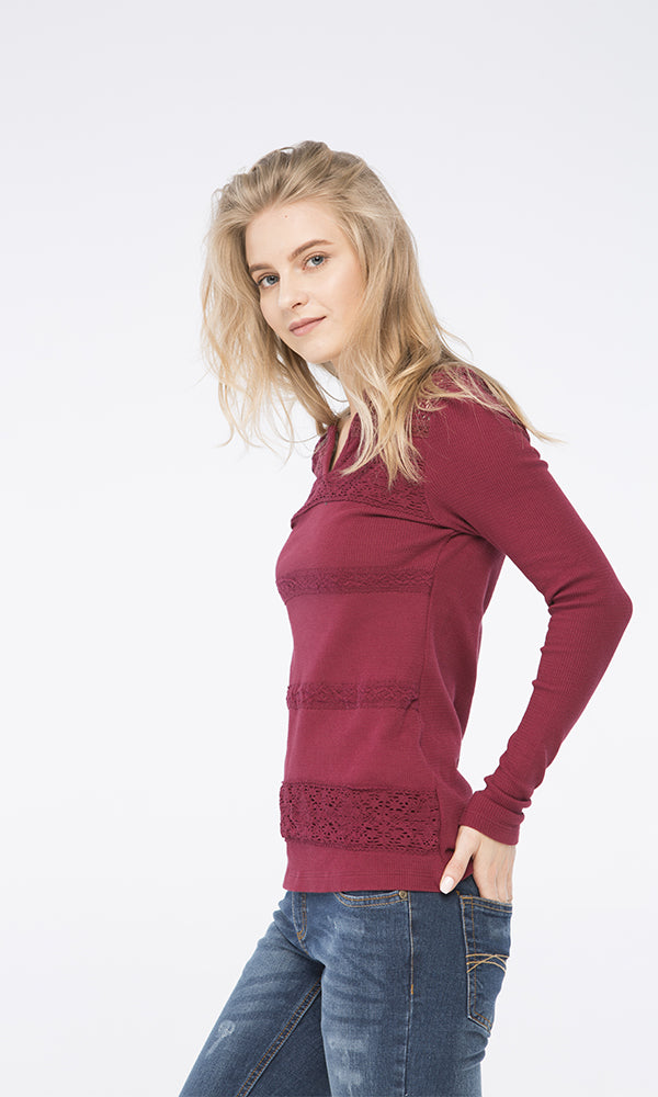 Lace Panels Sweatshirt