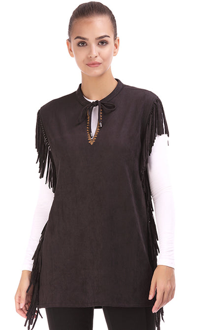 35477 Suede Fringed Top - Black