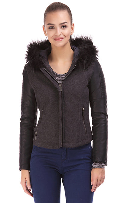 35486 Fur Hooded Jacket - Dark Grey