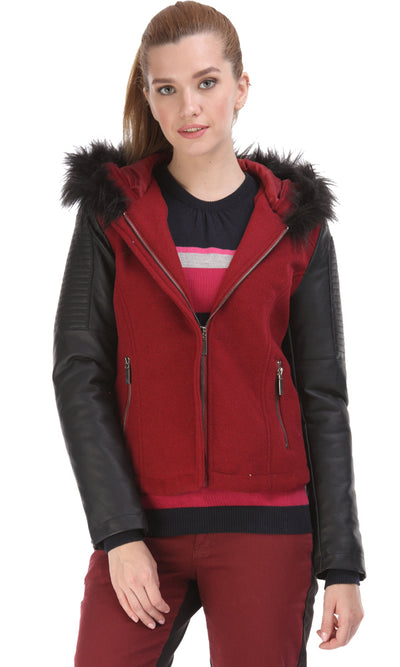 35487 Faux Leather Sleeves Jacket - Burgundy