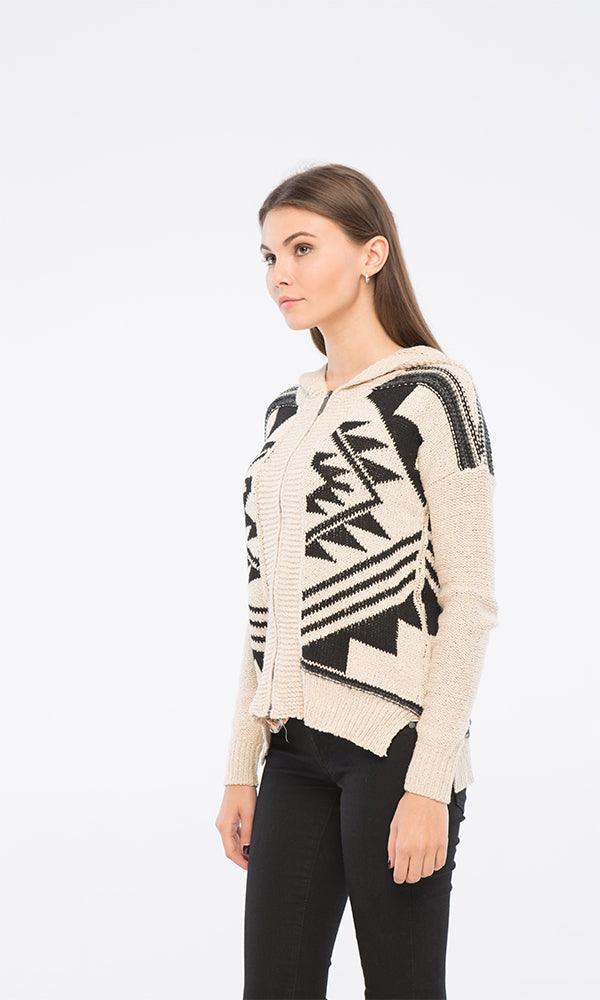 Tribal Hooded Cardigan-Front Zipper