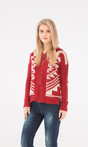 Knitted Zipped Sweatshirt - Red