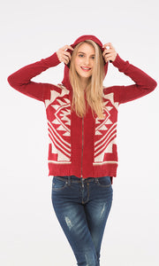 35508 Knitted Zipped Sweatshirt - Red