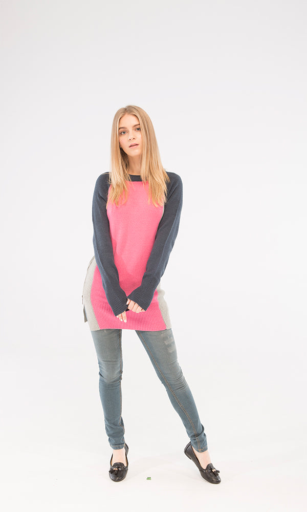 Color-Block Sweater-Side Zippers