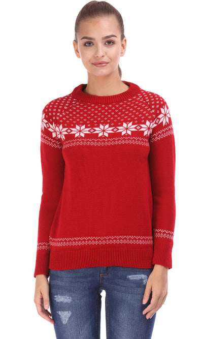 35519 Nordic Jacquard Sweater - Red