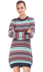35527 Aztec Patterned Long Pullover -  Multicolour