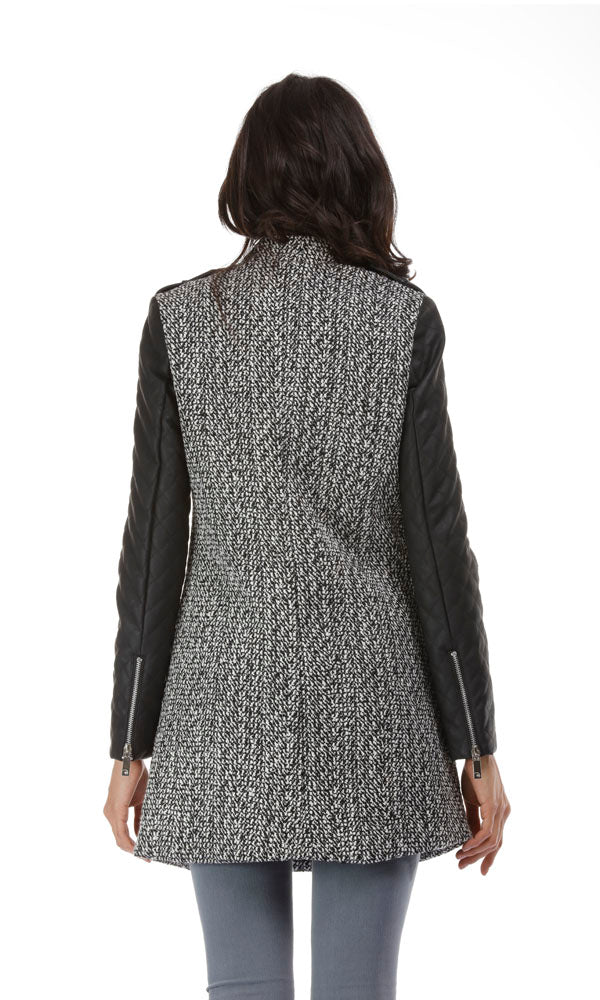 Tweed Coat-Contrast Quilted Faux Leather Sleeves