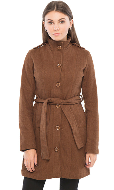 35539 Buttons Down Coat - Brown