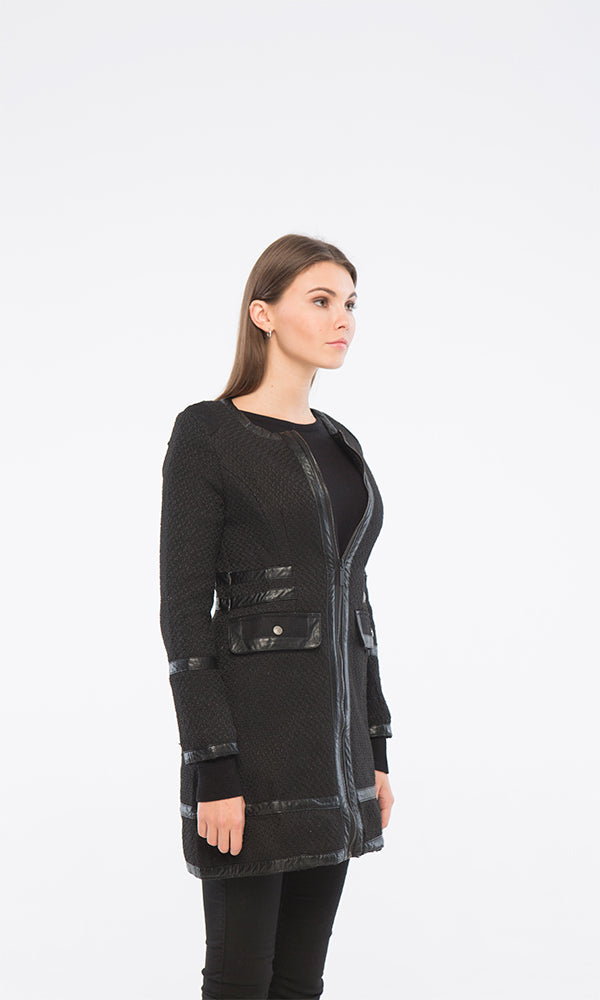 35542 Solid Long Jacket - Black