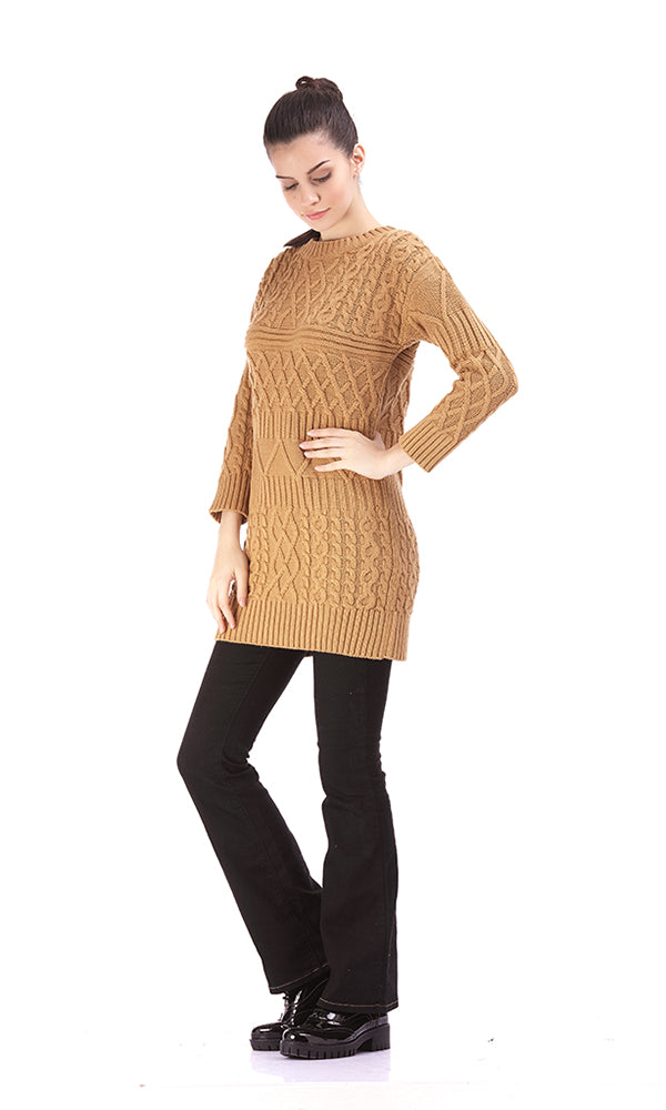 Mixed Cable Long Sweater