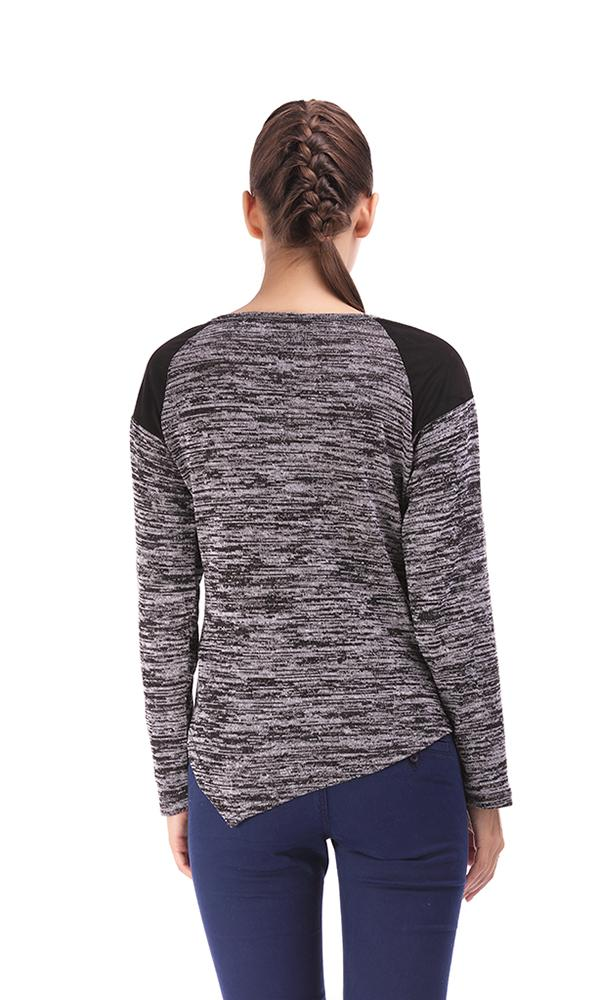 Asymmetrical Sweater-Contrast Shoulder