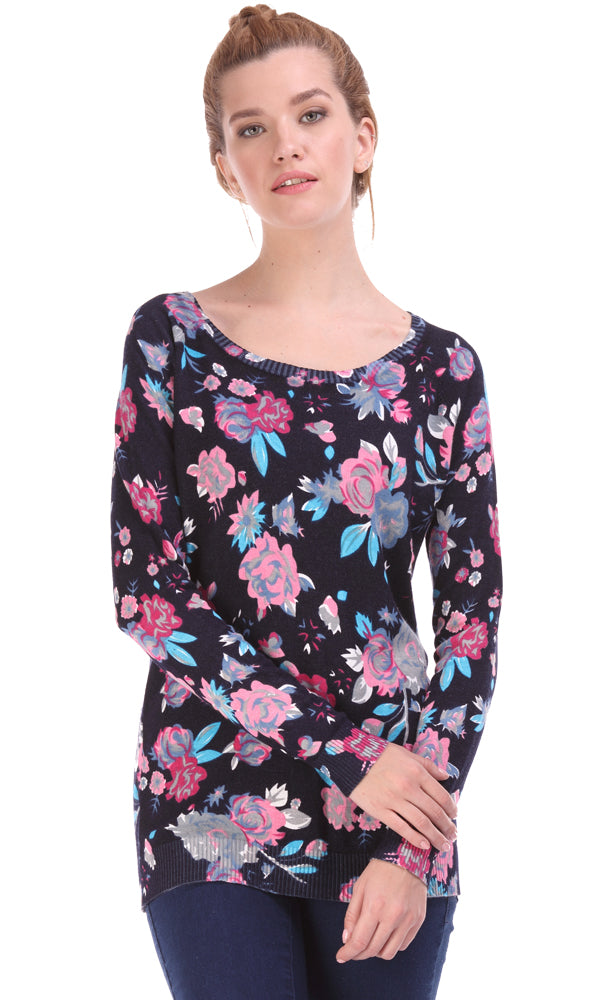 Floral Sweater-Round Neck