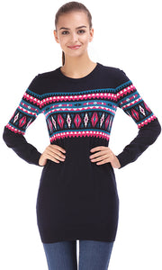 35565 Jacquard Long Pullover - Navy Blue