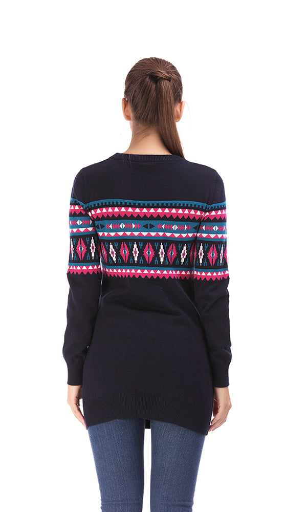 Jacquard Long Sweater-Round Neck