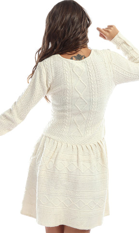 Play On Curves Tight Off White Knit Short Dress