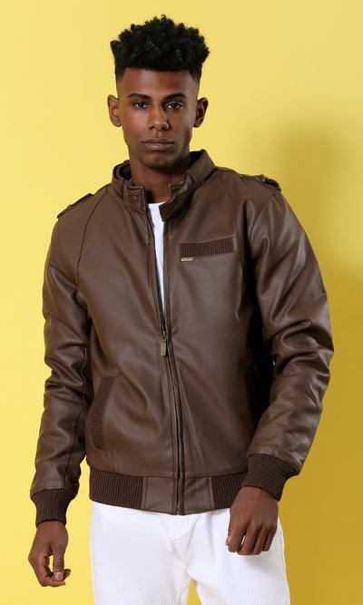 Havana Leather Long Sleeves With Hem Jacket - male coats & jackets