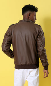 35594 Havana Leather Long Sleeves With Hem Basic Jacket