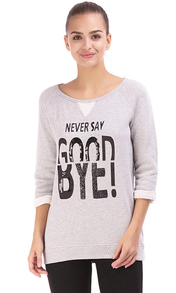 studded text sweatshirt-3/4 sleeves