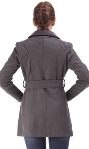 35620 Leather Detail Coat - Belted Waist-Grey