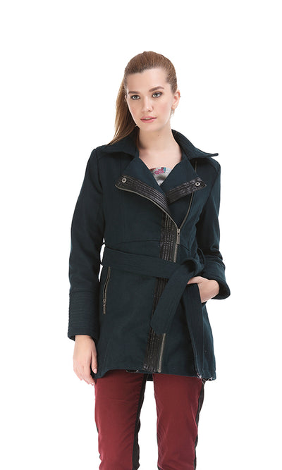 35621 Leather Zipped Coat - Navy Blue