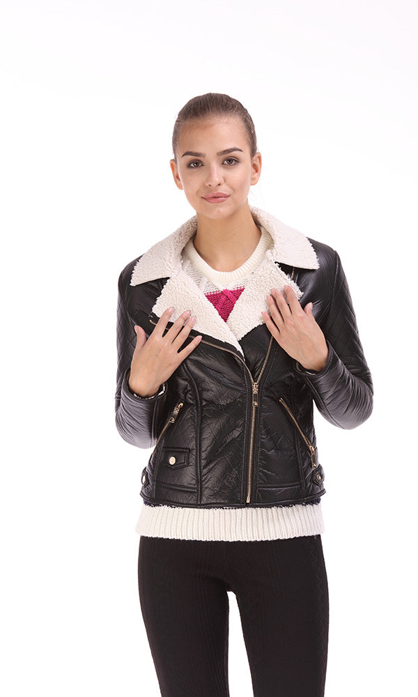 Faux Leather Puffer Jacket-Fur Collar-Quilted Shoulder