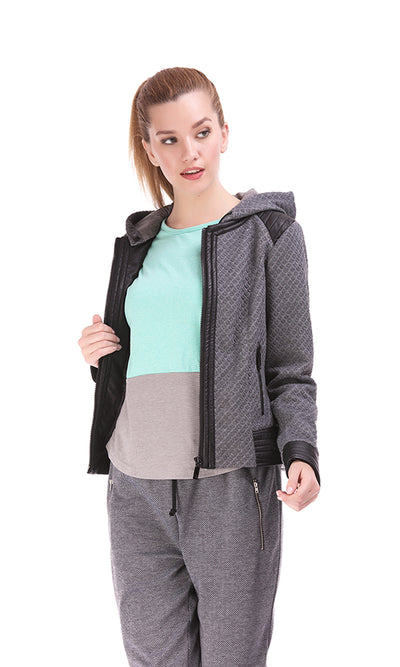 35623 Quilted Hooded Jacket - Faux Leather Details - Grey
