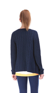 35629 Asymmetrical Zipper , Cabel Knit Sweater - Navy