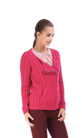 35630 Asymmetrical Zipper , Cabel Knit Sweater - Foushia