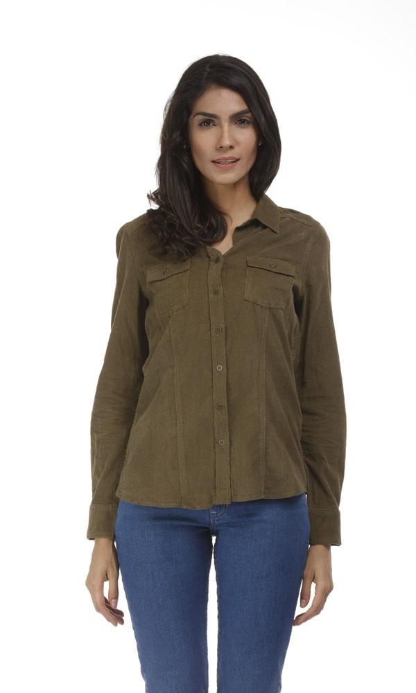 Corduroy Shirt-Contrast Elbow Patch