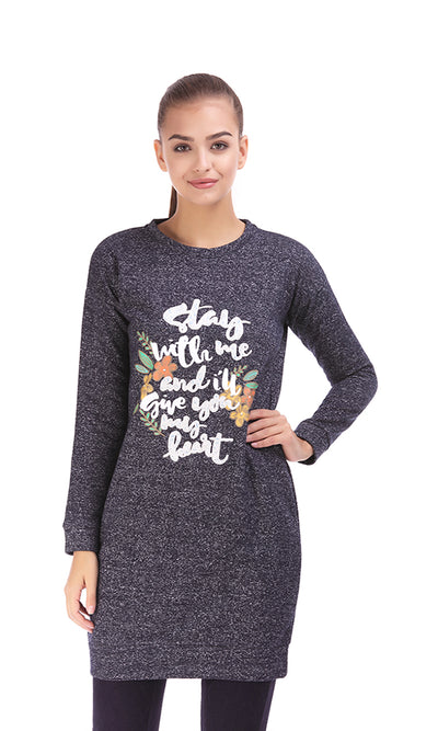 35657 Printed Sweatshirt Dress - J.Blue