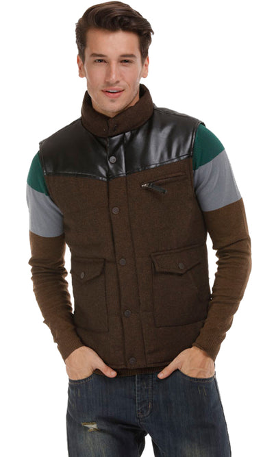 35692 Leather Sleeveless Vest - Brown
