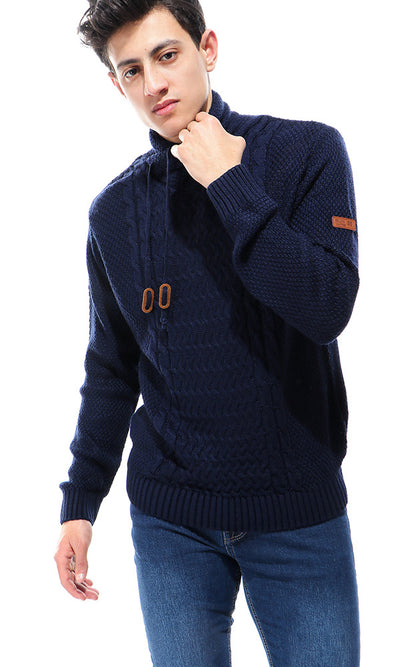 35693 Turtle Neck Fluffy Pullover - Navy Blue