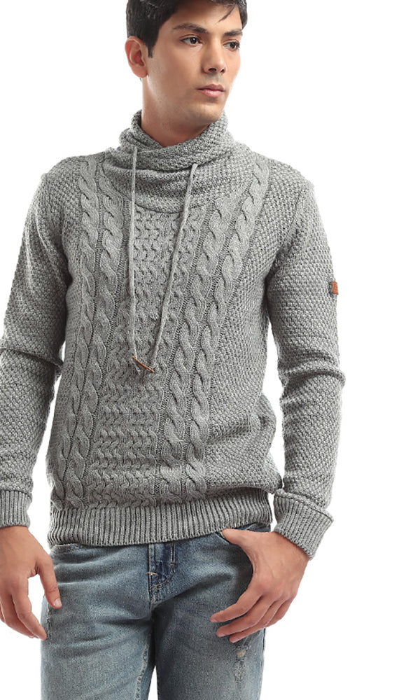 Folded Down Patterned Long Sleeves Light Grey Pullover