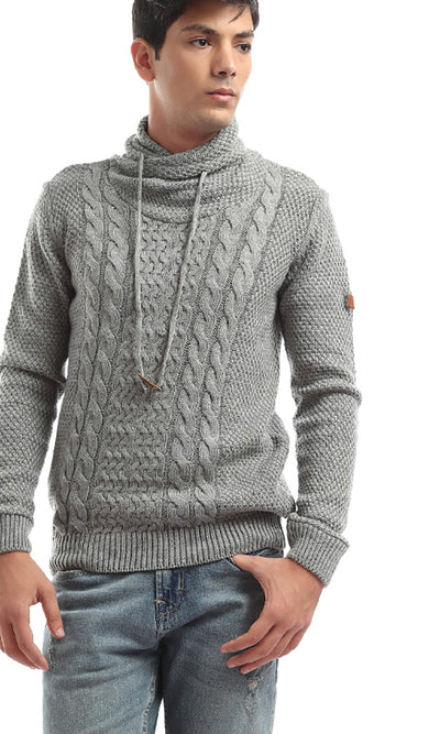 35694 Folded Down Patterned Long Sleeves Light Grey Pullover