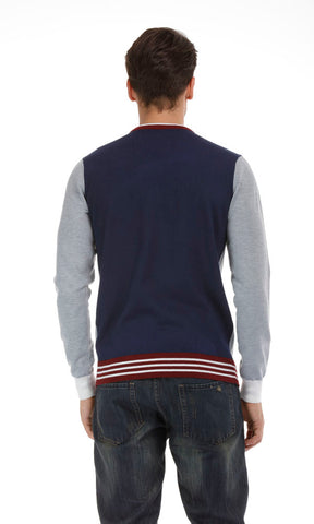 35695 Solid Pullover V-Neck - Grey & Navy