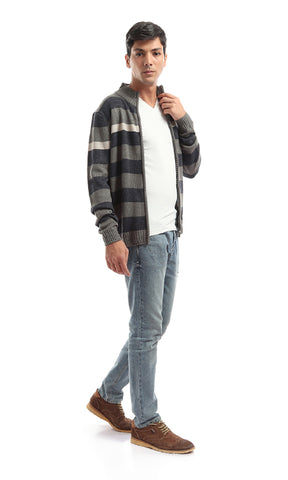 35697 Lightweight Striped Zip Knit Hoodied Sweatshirt -Light Grey & Beige