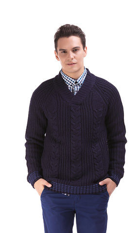35700 Cable Shawl Collar Pullover - Navy Blue