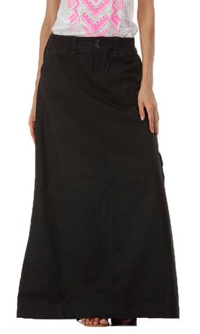 35712 Cotton A-Line Maxi Skirt - Black