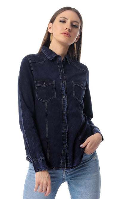 35722 Buttoned Casual Light Acid Navy Blue Jeans Shirt