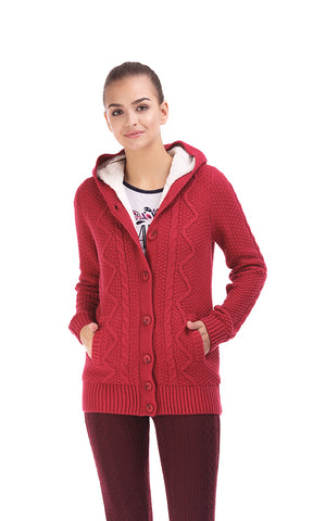 35727 Cabels Textured , Hoodie , Wood Buttons , Fur Interior - Fuchsia